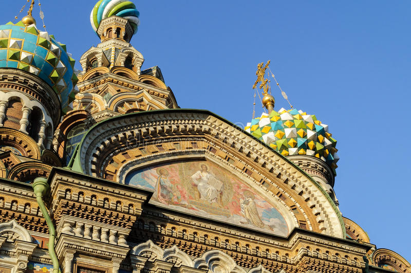 Fragment van kathedraal van Onze Verlosser op Gemorst Bloed, St. Petersburg royalty-vrije stock fotografie