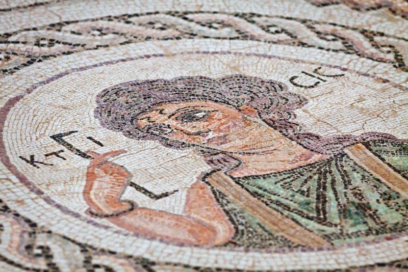 Fragment van oud godsdienstig mozaïek in Kourion, Cyprus stock afbeelding