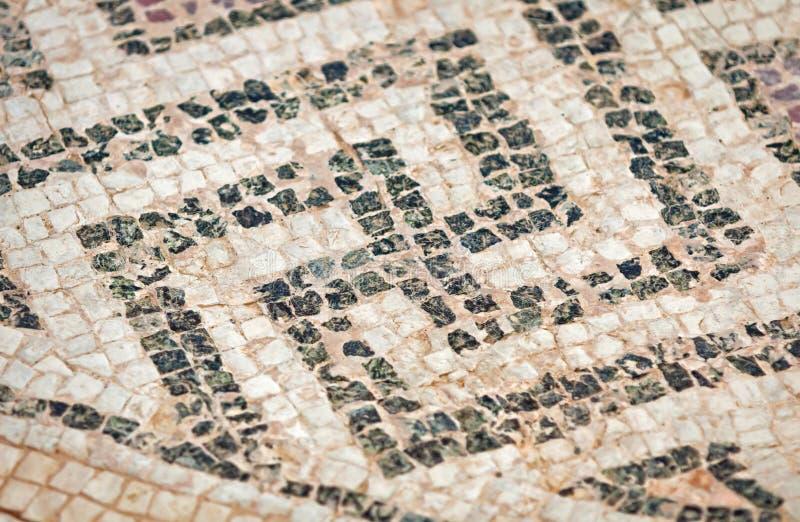 Fragment van oud mozaïek in Kourion, Cyprus royalty-vrije stock foto's