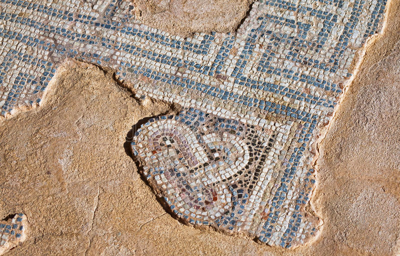Fragment van oud mozaïek in Kourion, Cyprus royalty-vrije stock afbeeldingen
