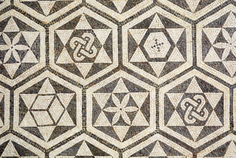 Fragment van oud roman mozaïek in Carmona, Spanje stock foto