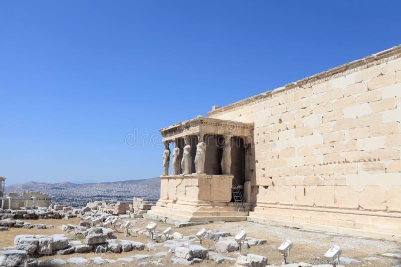 Fragment van oude tempel Erechtheum stock foto's
