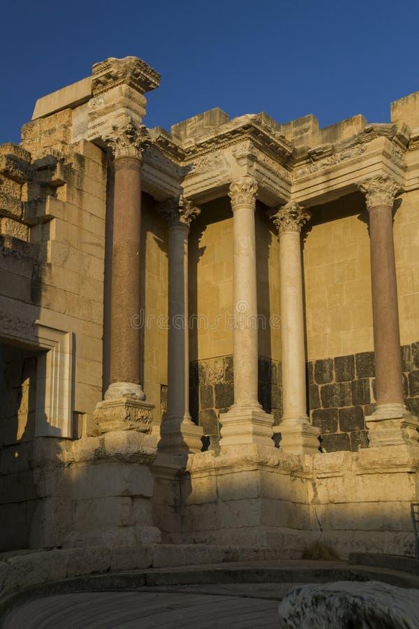 Fragment van Romans Amphiteatron-ruïnes in Beit She ' (Scythopol stock afbeelding