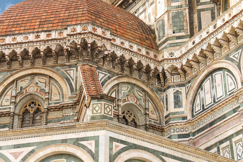 Fragment van voorgevel Duomo Santa Maria del Fiore, Florence, Italië royalty-vrije stock foto