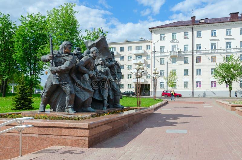 Fragment von Erinnerungsbefreiern von Vitebsk - sowjetische Soldaten, Anhänger und Untertagekämpfer, Vitebsk, Weißrussland lizenzfreie stockfotos