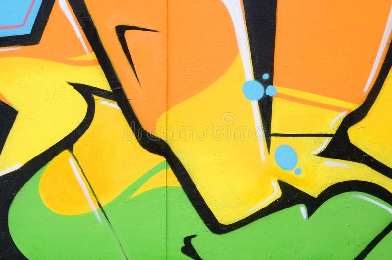 Fragment von farbigen Stra?enkunst-Graffitimalereien mit Konturen und oben schattieren Abschluss lizenzfreie stockbilder