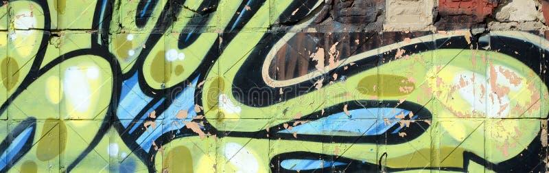 Fragment von farbigen Stra?enkunst-Graffitimalereien mit Konturen und oben schattieren Abschluss stockbilder