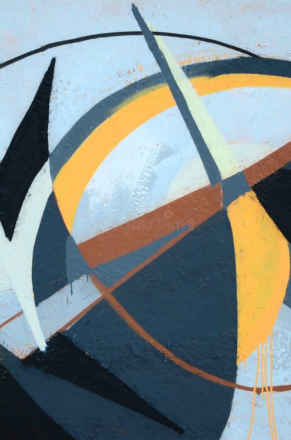 Fragment von farbigen Stra?enkunst-Graffitimalereien mit Konturen und oben schattieren Abschluss lizenzfreies stockbild