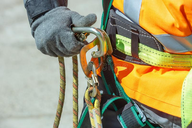 A fragment of the working equipment of a construction electrician stock photography