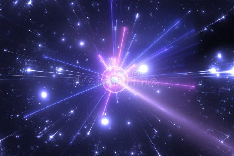 Fragmentation dans des collisions de grande énergie entre les particules atomiques et subatomiques illustration de vecteur