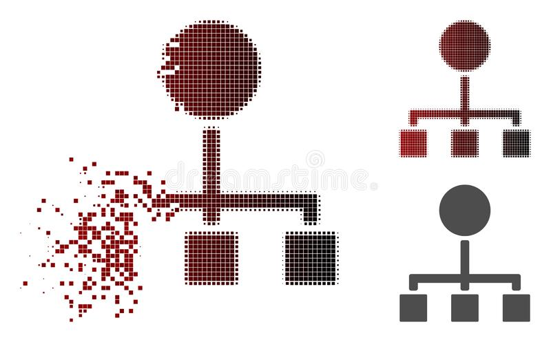 Fragmented Dot Halftone Hierarchy Icon. Hierarchy icon in dissolved, pixelated halftone and undamaged solid variants. Pieces are composed into vector vector illustration