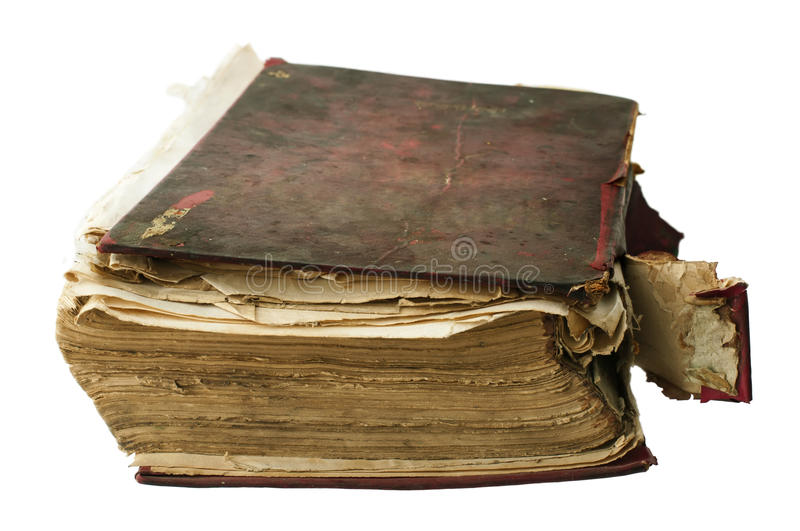 Fragmented old worn book royalty free stock photos