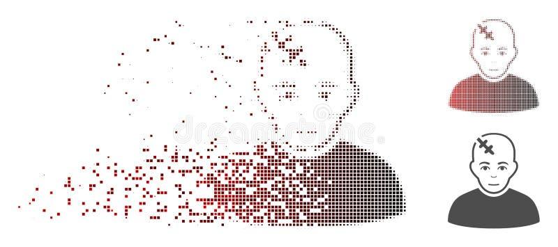 Fragmented Pixel Halftone Damaged Patient Icon stock illustration
