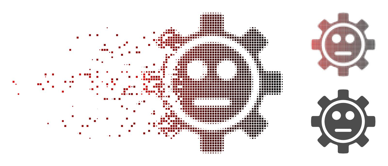 Fragmented Pixel Halftone Gear Neutral Smiley Icon. Vector gear neutral smiley icon in fractured, pixelated halftone with red to black horizontal gradient and vector illustration