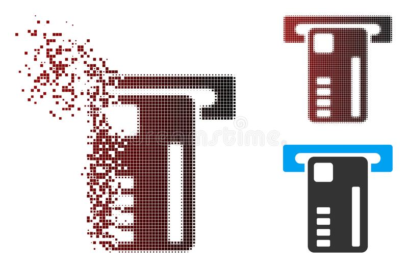 Fragmented Pixel Halftone Ticket Machine Icon. Vector ticket machine icon in fractured, pixelated halftone and undamaged solid versions. Disintegration effect royalty free illustration