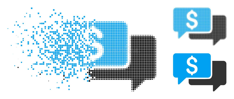 Fragmented Pixelated Halftone Price Bids Icon vector illustration