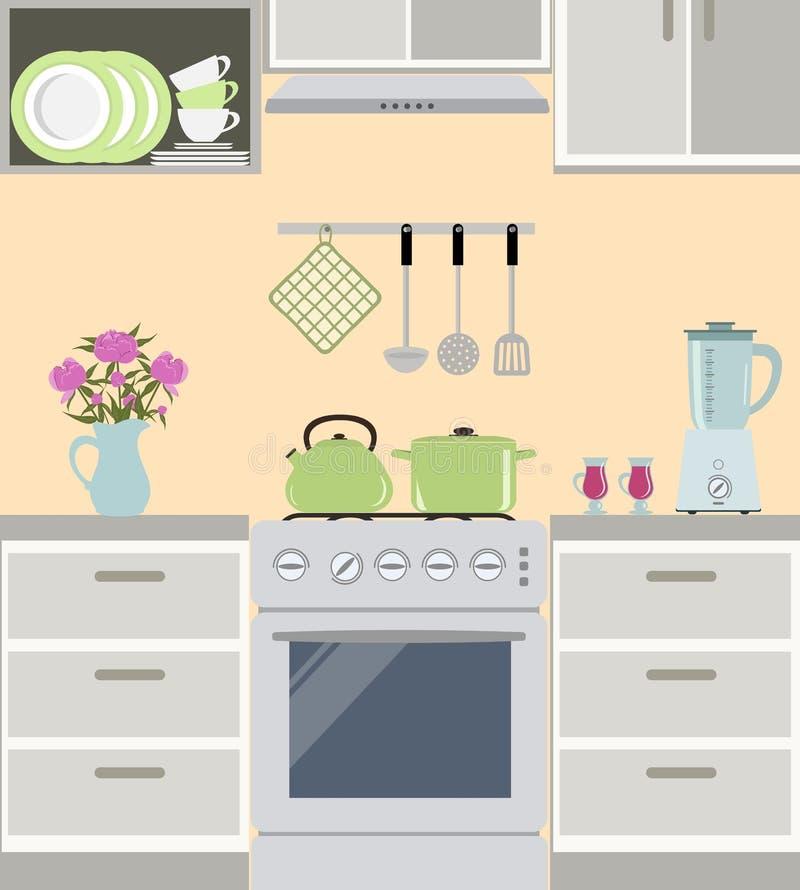 Fragmentet av en kökinre i grå färger färgar royaltyfri illustrationer