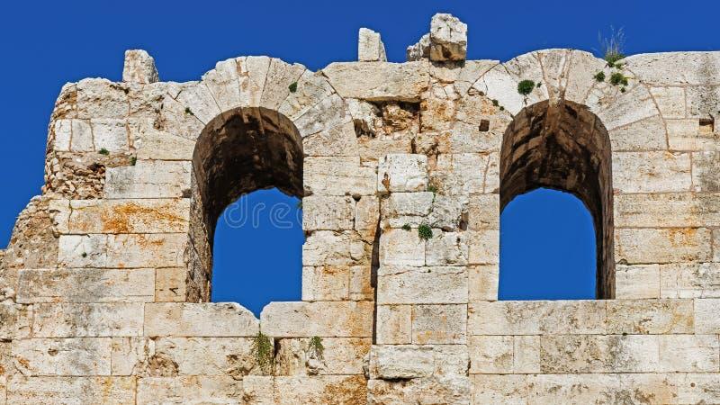 Fragmentet av fördärvar av Odeonen av Pericles arkivbilder