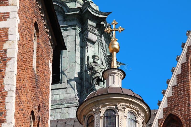 Fragmento arquitetónico da catedral de Wawel, Krakow, Polônia imagem de stock royalty free