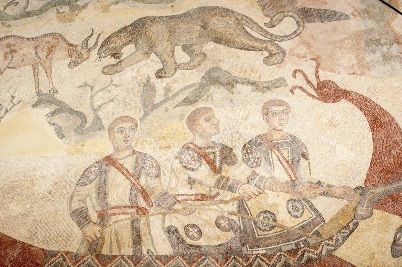Fragmento Casa de campo romana Romana del Casale do mosaico, Sicília imagem de stock