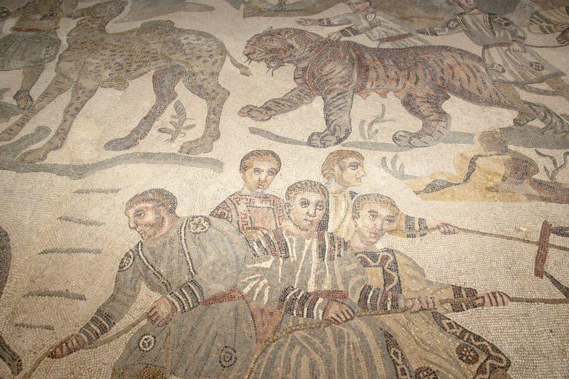 Fragmento Casa de campo romana Romana del Casale do mosaico, Sicília fotos de stock royalty free
