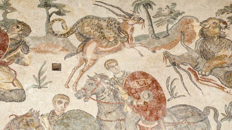 Fragmento Casa de campo romana Romana del Casale do mosaico, Sicília foto de stock royalty free