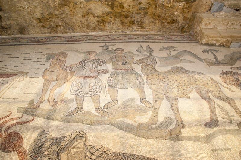 Fragmento Casa de campo romana Romana del Casale do mosaico, Sicília fotos de stock