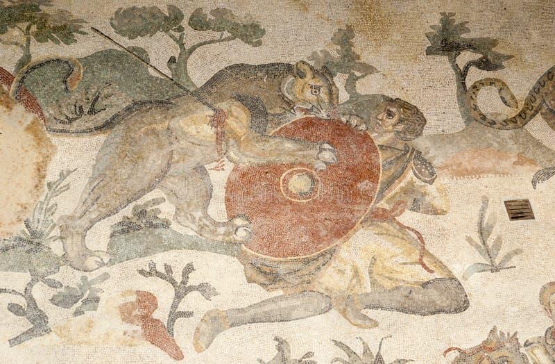 Fragmento Casa de campo romana Romana del Casale do mosaico, Sicília fotografia de stock royalty free