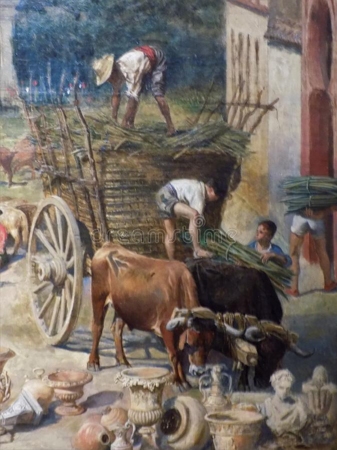 Fragmento da alegoria sobre Malaga ilustração royalty free