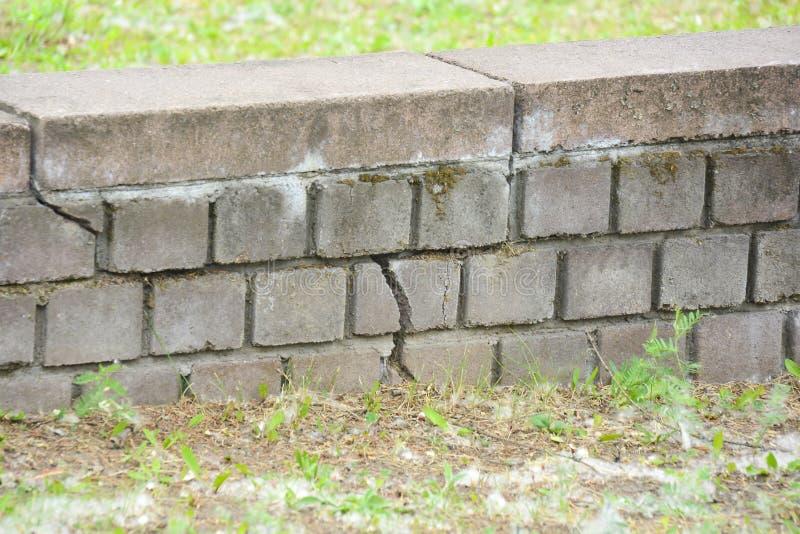 Fragmento da alvenaria com uma quebra Rachadura na parede de tijolo imagens de stock