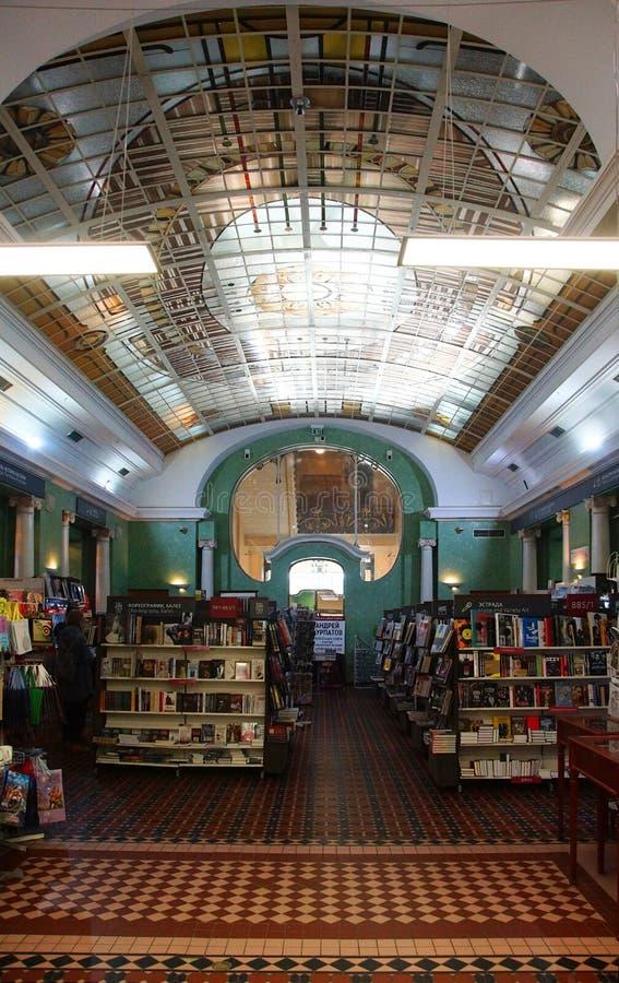Fragmento da concepção arquitetónica do interior no estilo de Art Nouveau no cantor House em St Petersburg fotos de stock royalty free