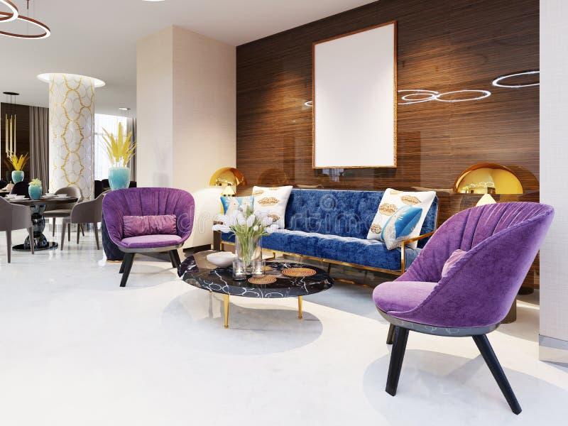 Fragmento da entrada do hotel de luxo de cinco estrelas sofá luxuoso com cadeiras e uma tabela do compartimento com flores Área d ilustração stock