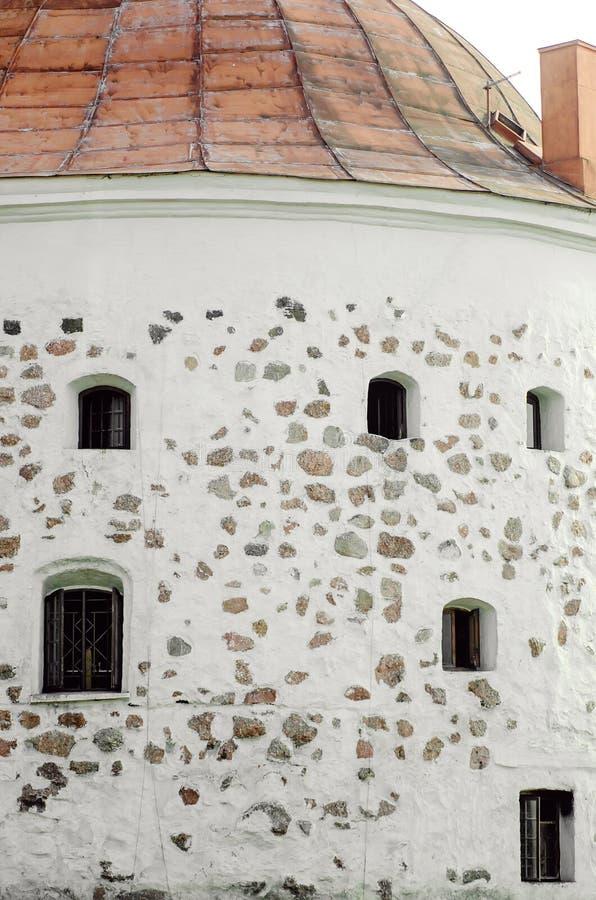 Fragmento da parede de um castelo antigo em Vyborg Close-up foto de stock royalty free