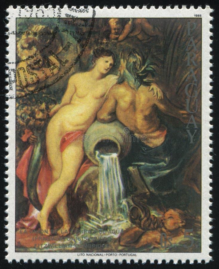 Fragmento da união da pintura da terra e da água por Rubens fotografia de stock