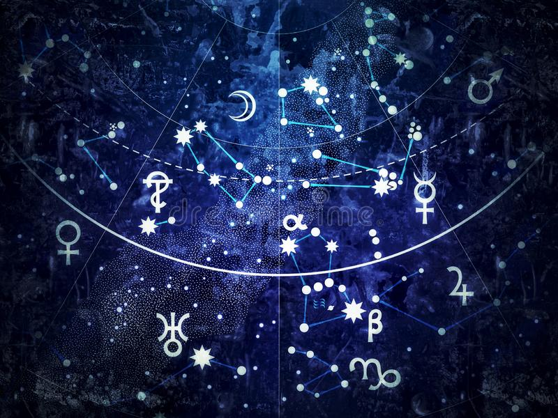 Fragmento de Celestial Atlas astronómico ( vintage remake) del grunge; ilustración del vector