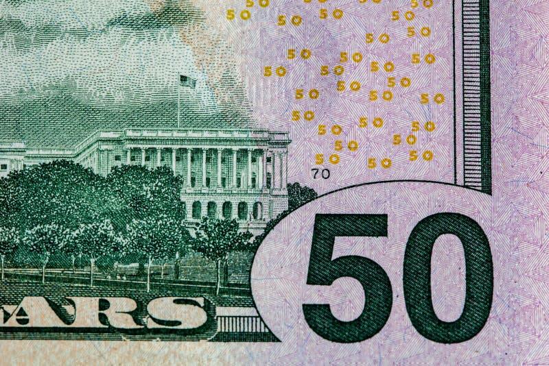 Fragmento de 50 dólares de EE. UU. de lado trasero de la cuenta imagenes de archivo