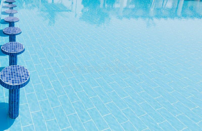 Fragmento de invitación agradable de la vista de la turquesa, piscina con los asientos cómodos azules de las tejas de mosaico en  fotos de archivo libres de regalías