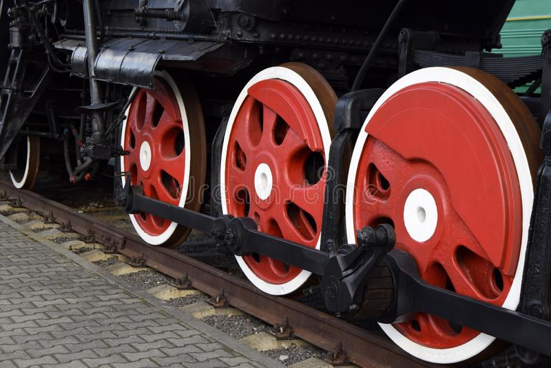 Fragmento de la locomotora antigua fotografía de archivo libre de regalías