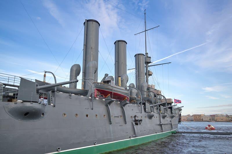 Fragmento de la nave legendaria de la aurora del crucero de la revolución fotografía de archivo