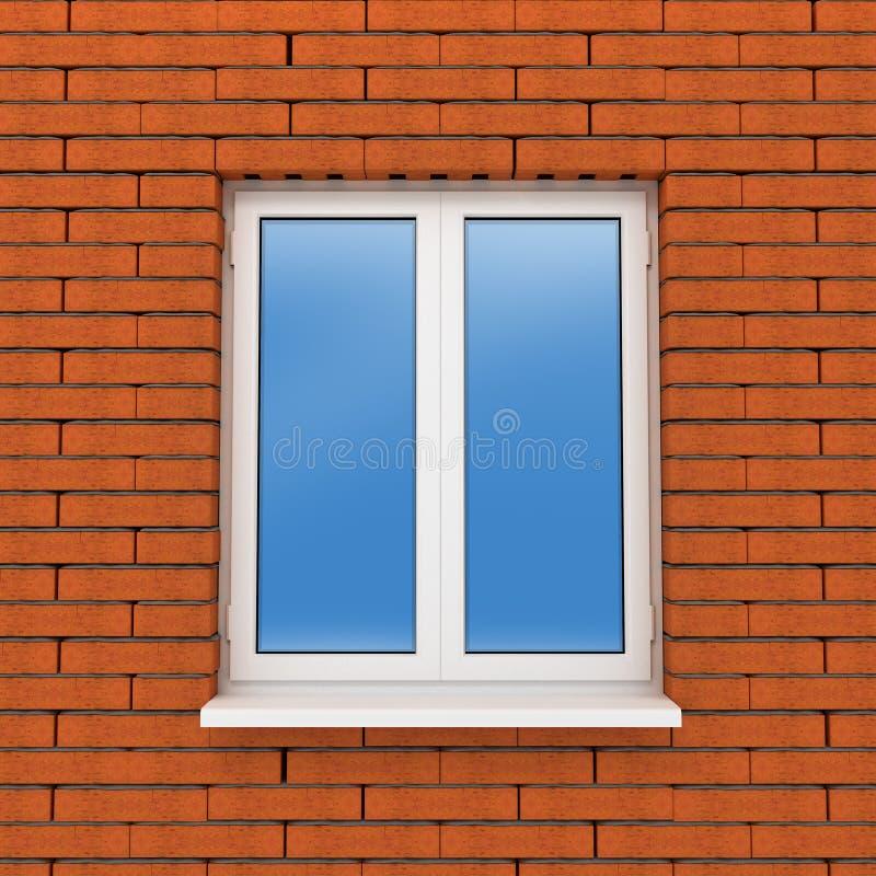 Fragmento de la pared de ladrillo con la ventana plástica libre illustration