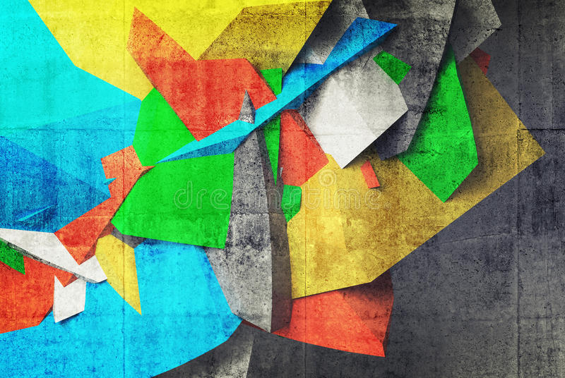 fragmento de la pintada 3d en la pared del interior concreto del estacionamiento stock de ilustración