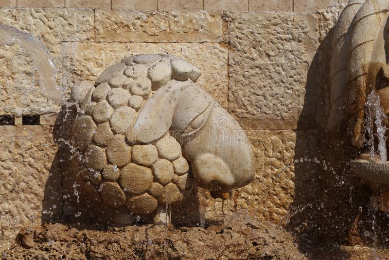 Fragmento de las muestras de la fuente del zodiaco - aries, Jaffa, teléfono foto de archivo libre de regalías