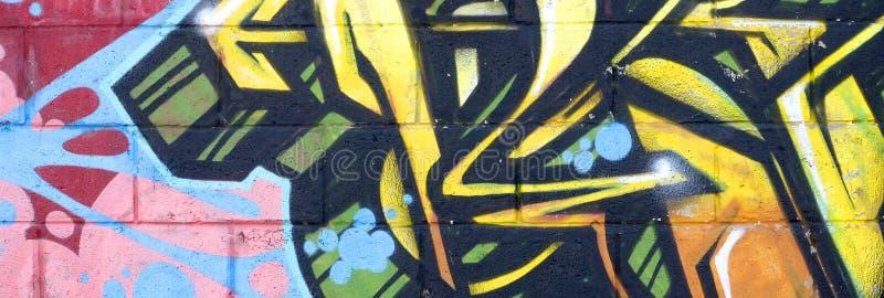 Fragmento de las pinturas coloreadas de la pintada del arte de la calle con contornos y el sombrear cierre para arriba libre illustration