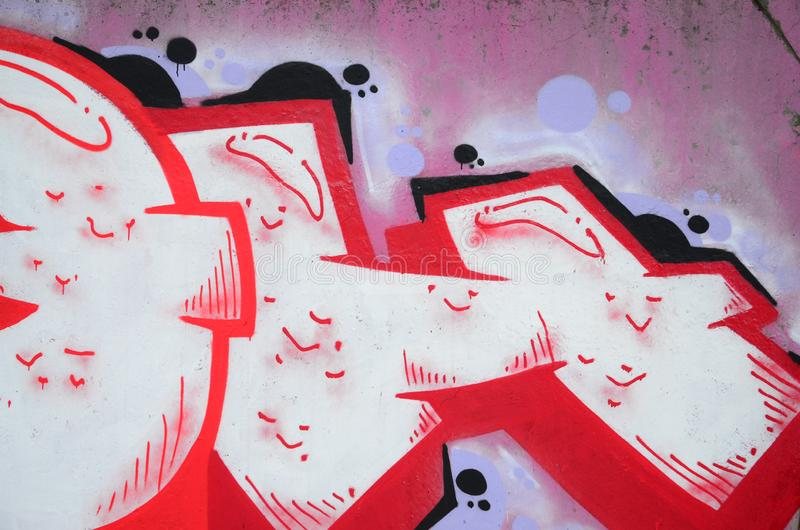 Fragmento de las pinturas coloreadas de la pintada del arte de la calle con contornos y el sombrear cierre para arriba stock de ilustración
