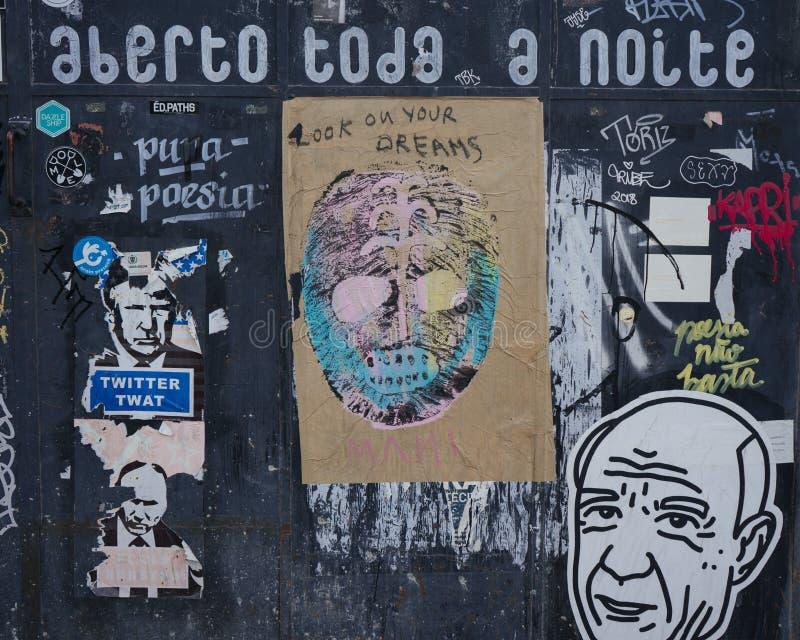 Fragmento de LISBOA, PORTUGAL del arte de la calle imagen de archivo