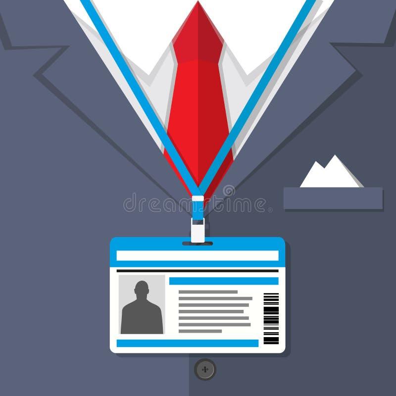 Fragmento de um terno do homem com o crachá ilustração stock