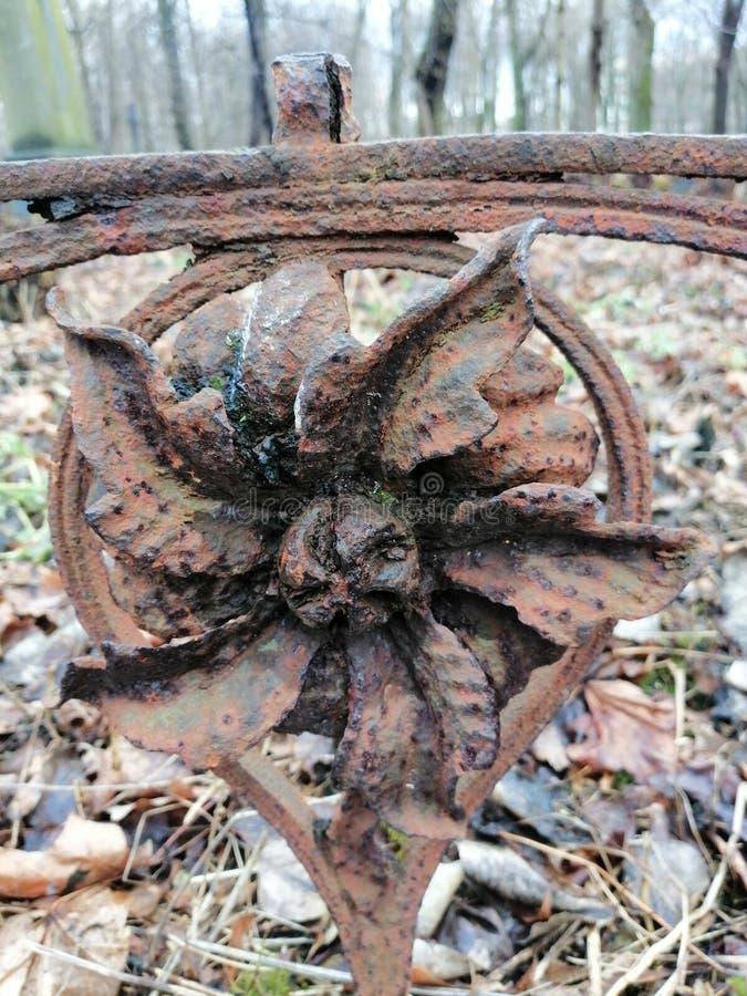 Fragmento de uma cerca sob a forma de uma flor fotografia de stock