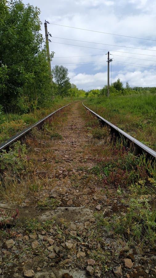 Fragmento de uma linha de estrada de ferro velha que corre ao longo do campo na borda da paisagem da floresta imagens de stock