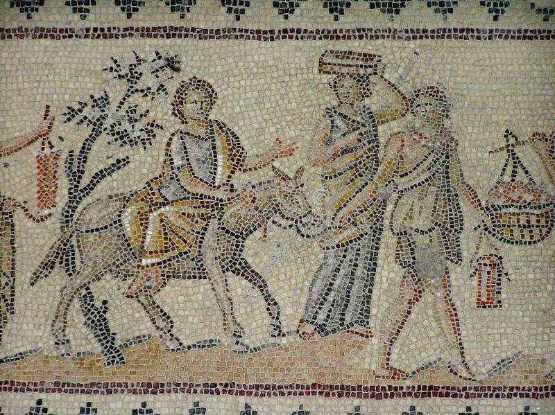 Fragmento de un piso de mosaico antiguo bien conservado Parque nacional de Zippori, Israel fotos de archivo libres de regalías
