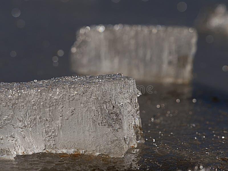 Fragmento de un primer de fusi?n de la forma de la masa de hielo flotante de hielo Hielo en el r?o imagen de archivo